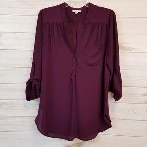 Pleione purple 3/4 sleeve blouse top size M
